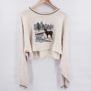 Vintage Holiday Crop Top Knitted Crewneck Sweater